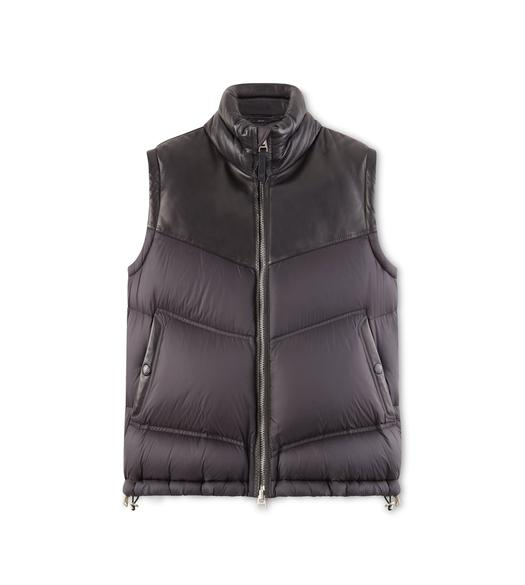 NYLON AND LEATHER DOWN VEST