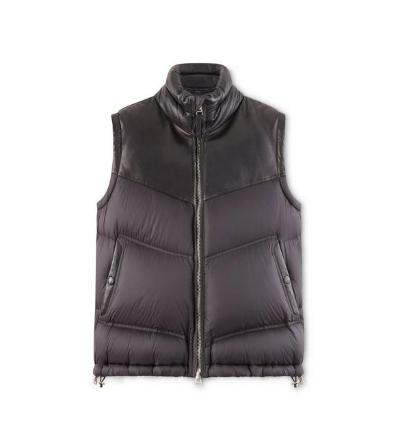 NYLON AND LEATHER DOWN VEST A fullsize