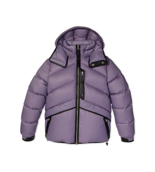 LIGHTWEIGHT NYLON DOWN HOODED JACKET