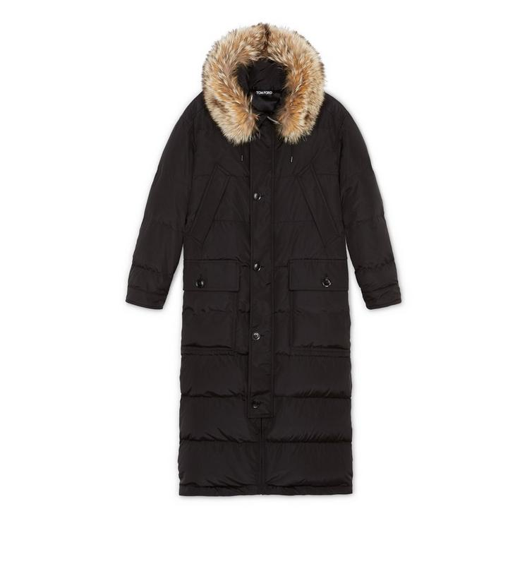 WATERPROOF SILK PARKA WITH COYOTE FUR TRIM HOOD A fullsize