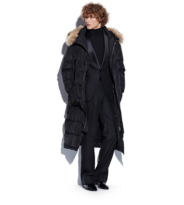WATERPROOF SILK PARKA WITH COYOTE FUR TRIM HOOD L fullsize