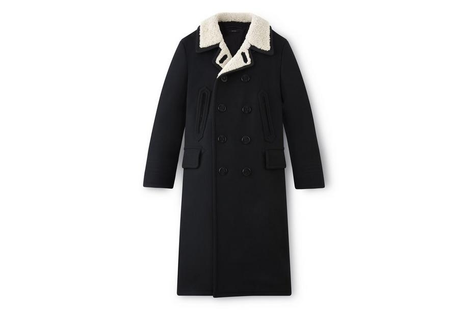 LONG PEACOAT WITH SHEARLING A fullsize