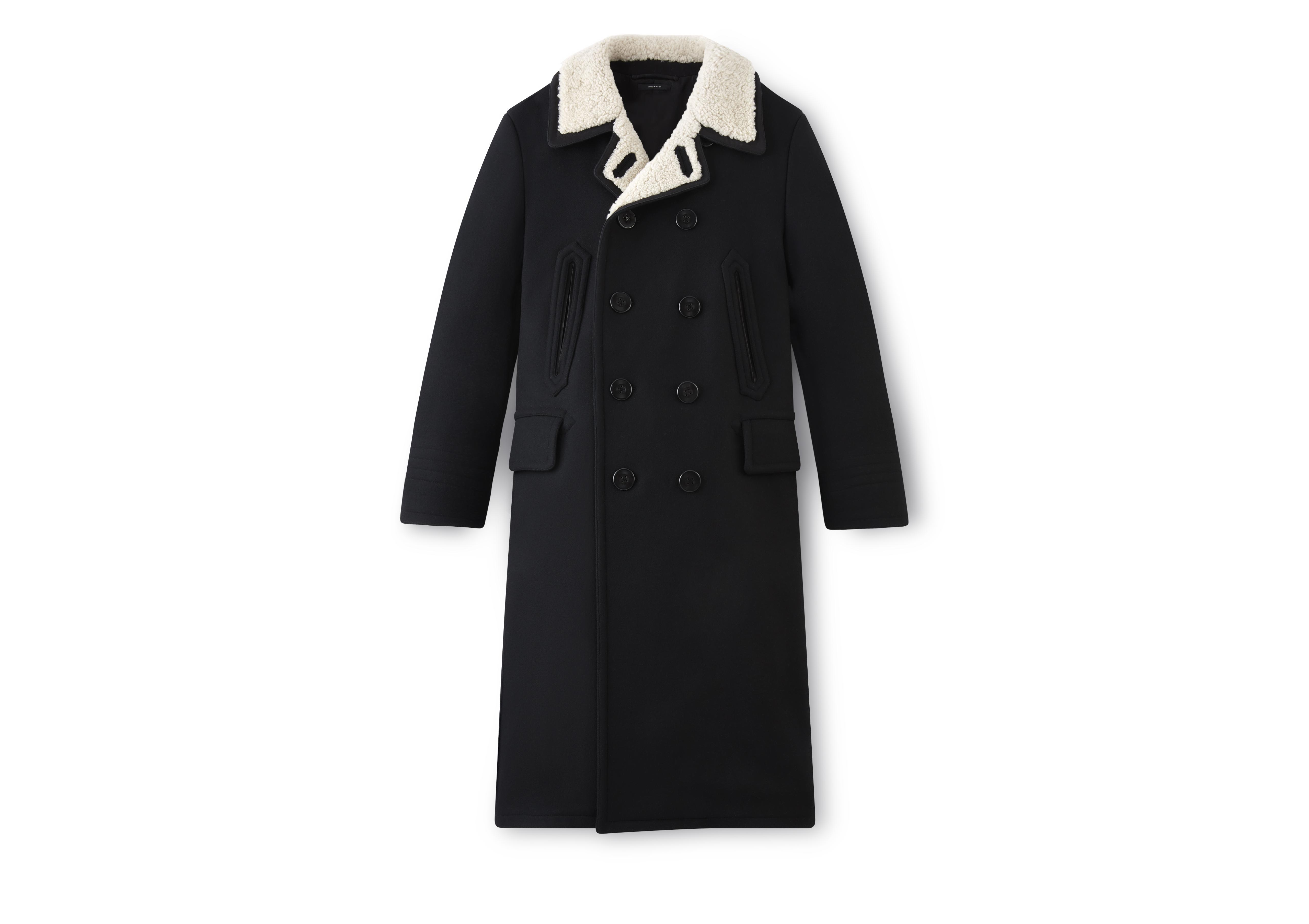 LONG PEACOAT WITH SHEARLING A thumbnail