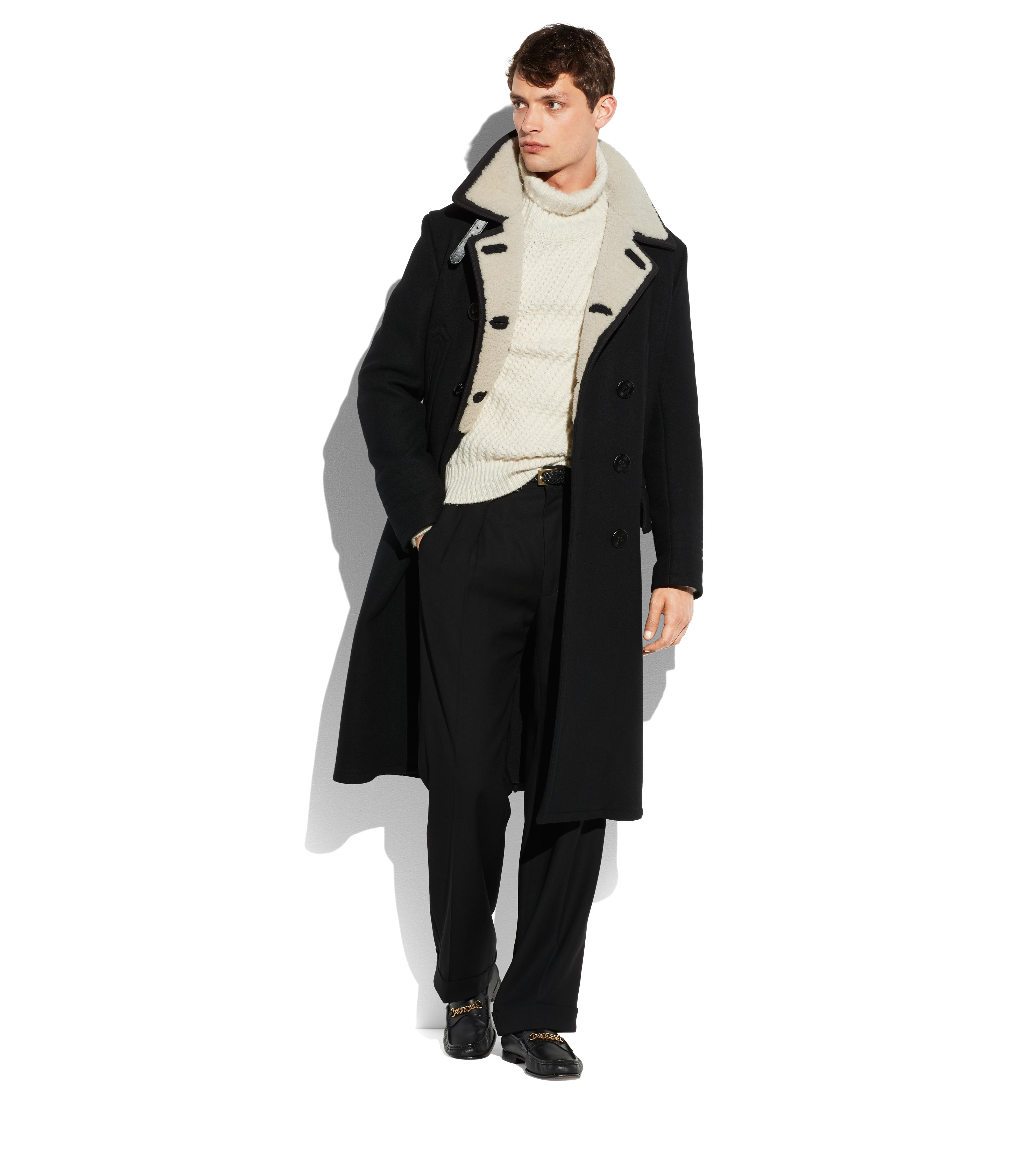 LONG PEACOAT WITH SHEARLING B thumbnail