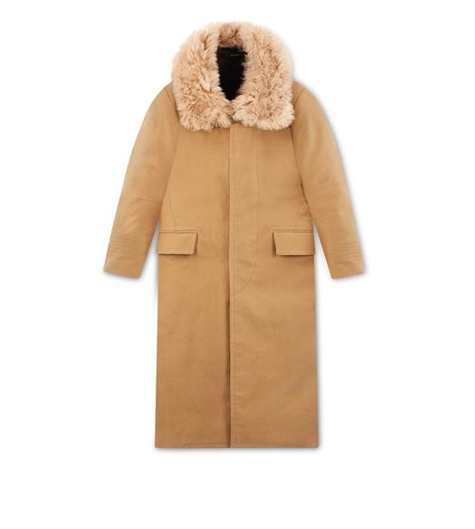 FELT COAT WITH SHEARLING COLLAR