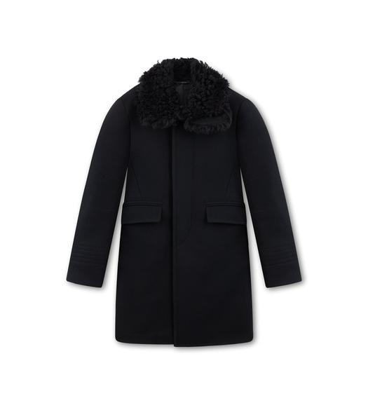 MOLESKIN COAT WITH SHEARLING COLLAR