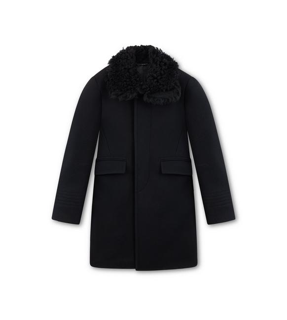 MOLESKIN COAT WITH SHEARLING COLLAR A fullsize