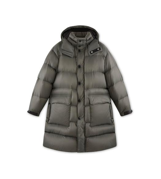 LIGHTWEIGHT NYLON HOODED LONG PARKA