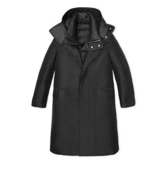 SILK GROSGRAIN DOWN COAT A fullsize