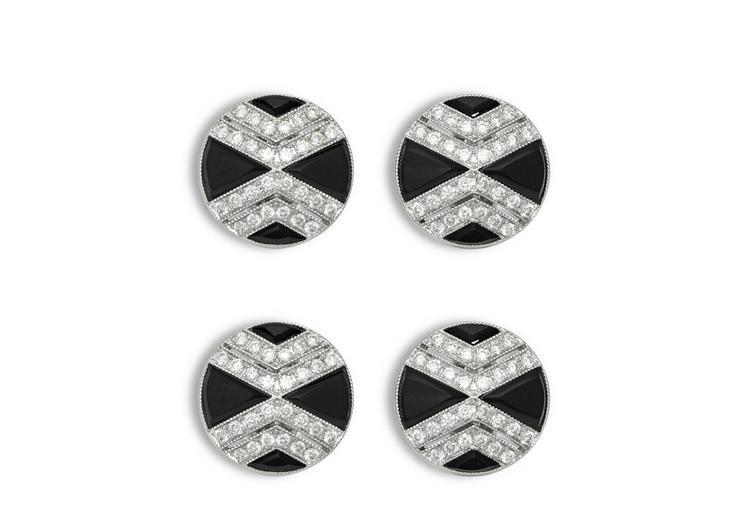 Onyx And Diamond Cross Stud A fullsize