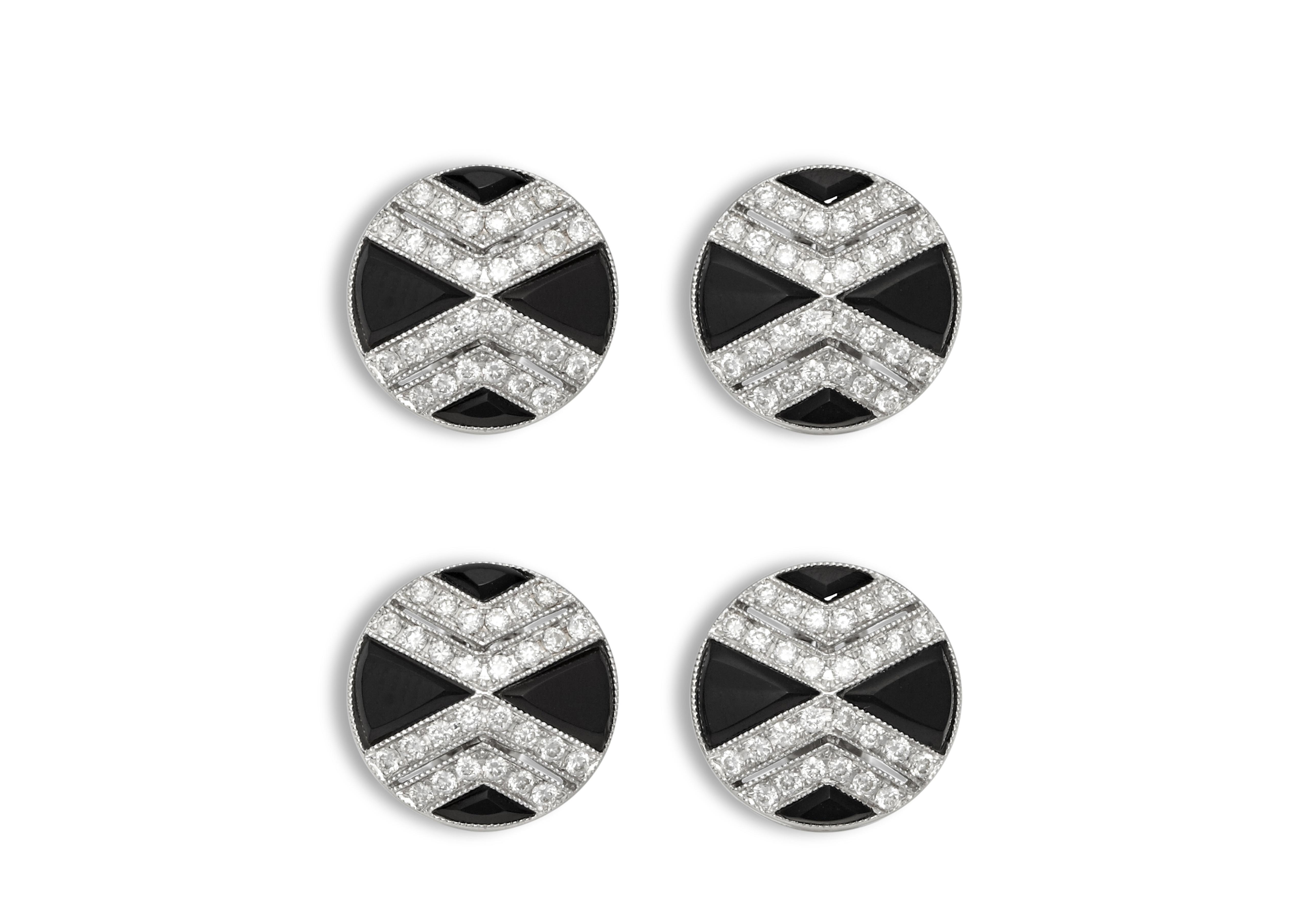 Onyx And Diamond Cross Stud A thumbnail