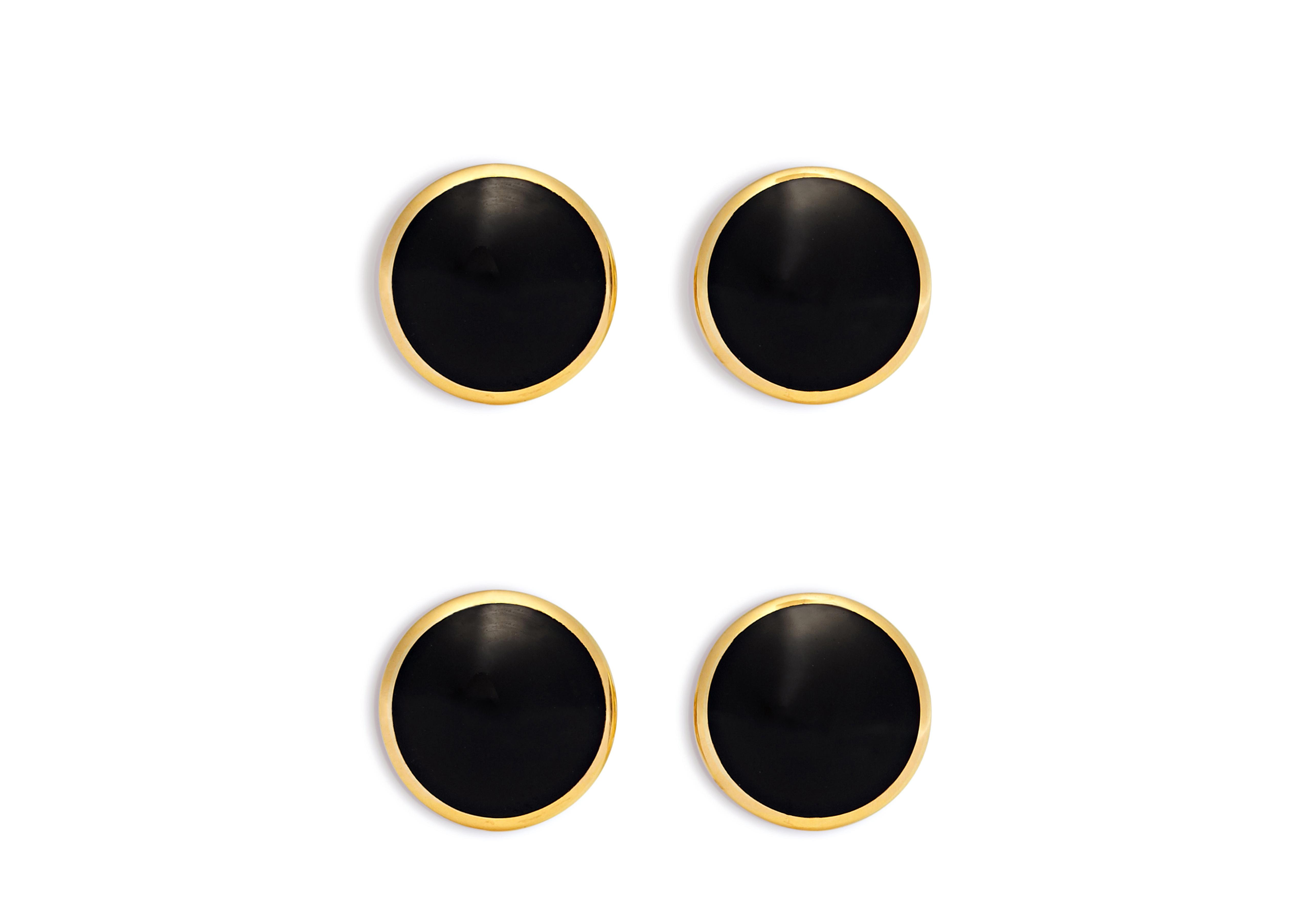 Onyx And Gold Disc Studs Set A thumbnail