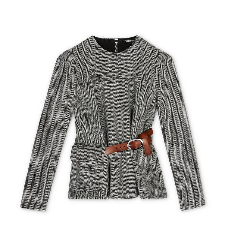 BLOUSON EFFECT TOP WITH LEATHER BELT A fullsize