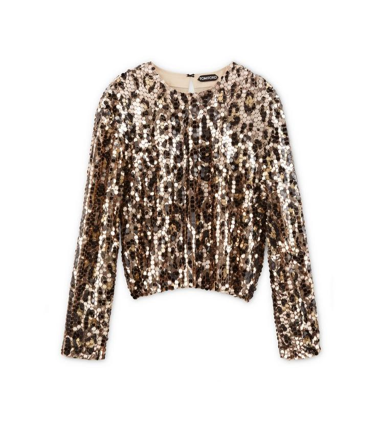 BLOUSON EFFECT EMBROIDERED LONG SLEEVE TOP A fullsize