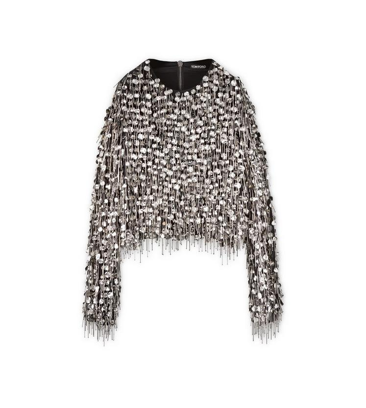 LONG SLEEVE EMBROIDERED BLOUSON EFFECT TOP A fullsize