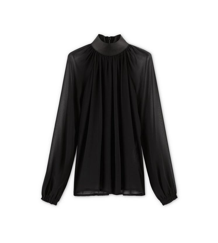 LEATHER COLLAR BLOUSE A fullsize