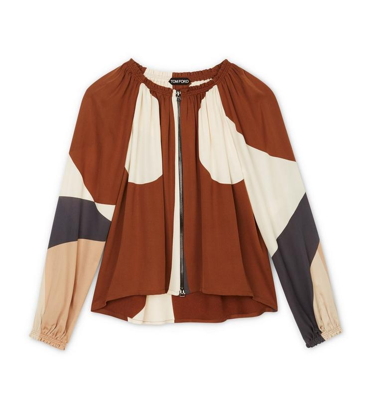 PRINTED ZIP FRONT BLOUSE A fullsize