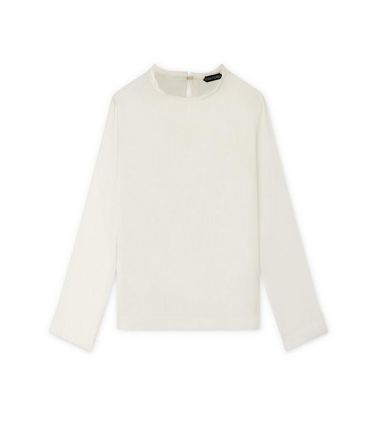 LIGHT WASHED TWILL CREW-NECK TOP A fullsize