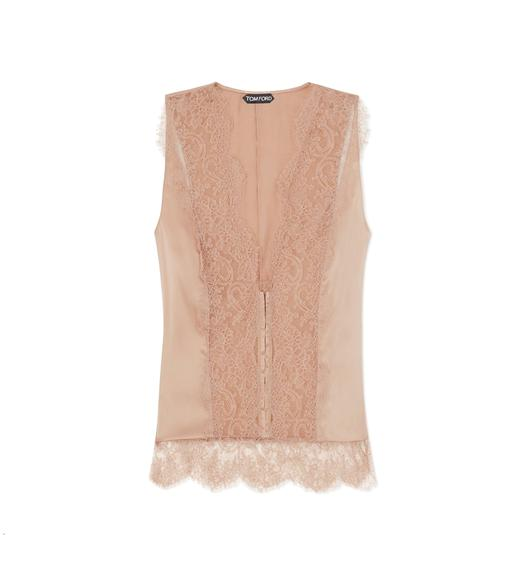 STRETCH SILK AND LACE CAMISOLE
