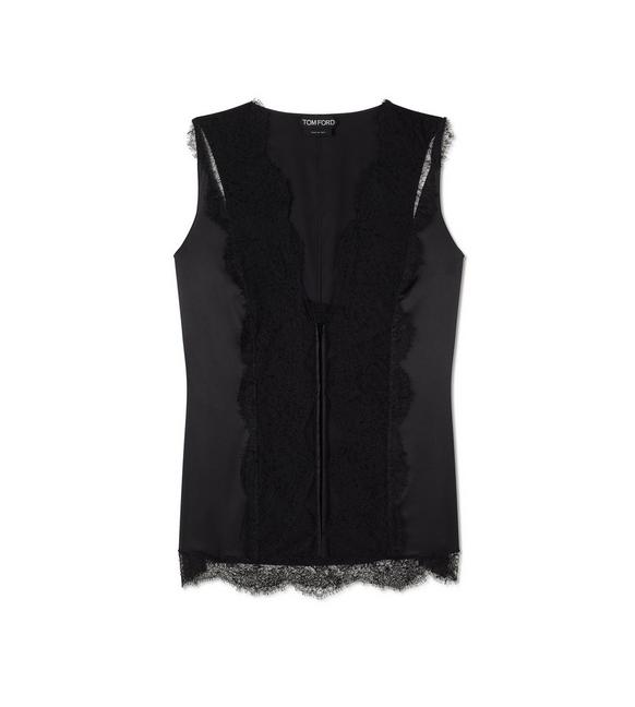 STRETCH SILK AND LACE CAMISOLE A fullsize