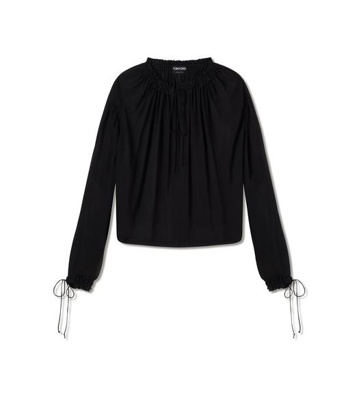 SILK GEORGETTE BISHOP SLEEVE BLOUSE