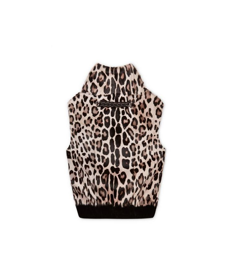 OPEN BACK SLEEVELESS FUR TOP WITH NECK CHAIN A fullsize