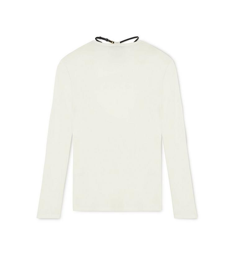LONG SLEEVE CREW NECK TOP WITH PADLOCK ON LEATHER NECKLACE B fullsize
