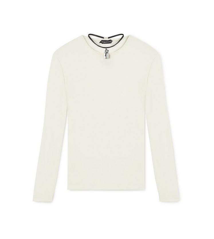 LONG SLEEVE CREW NECK TOP WITH PADLOCK ON LEATHER NECKLACE C fullsize