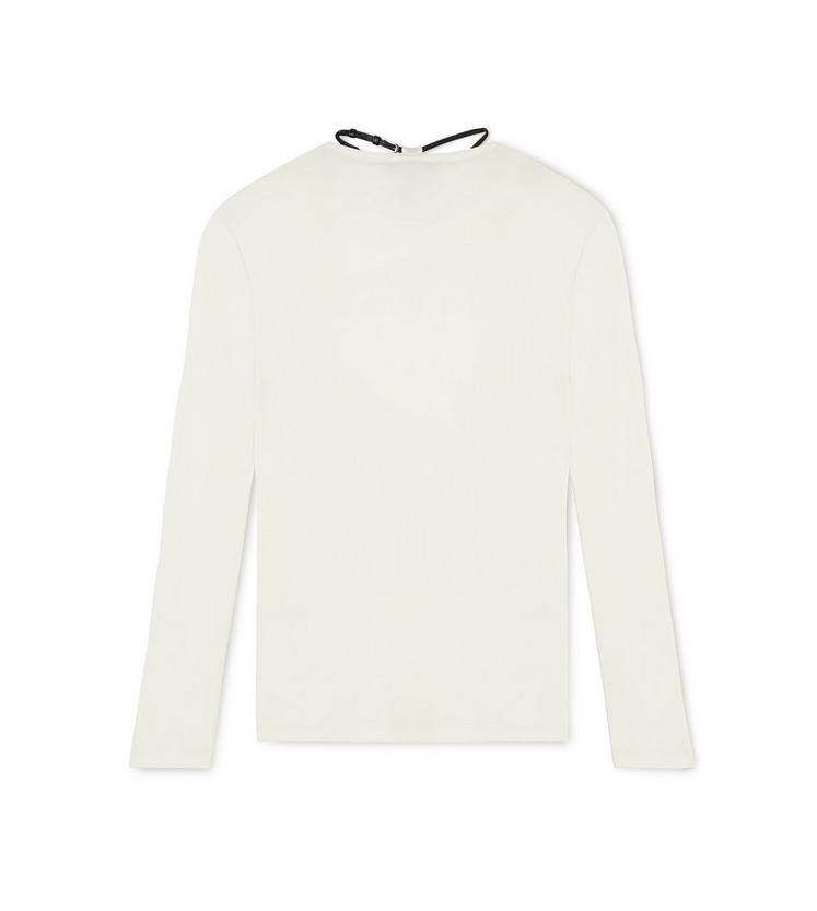 LONG SLEEVE CREW NECK TOP WITH PADLOCK ON LEATHER NECKLACE D fullsize