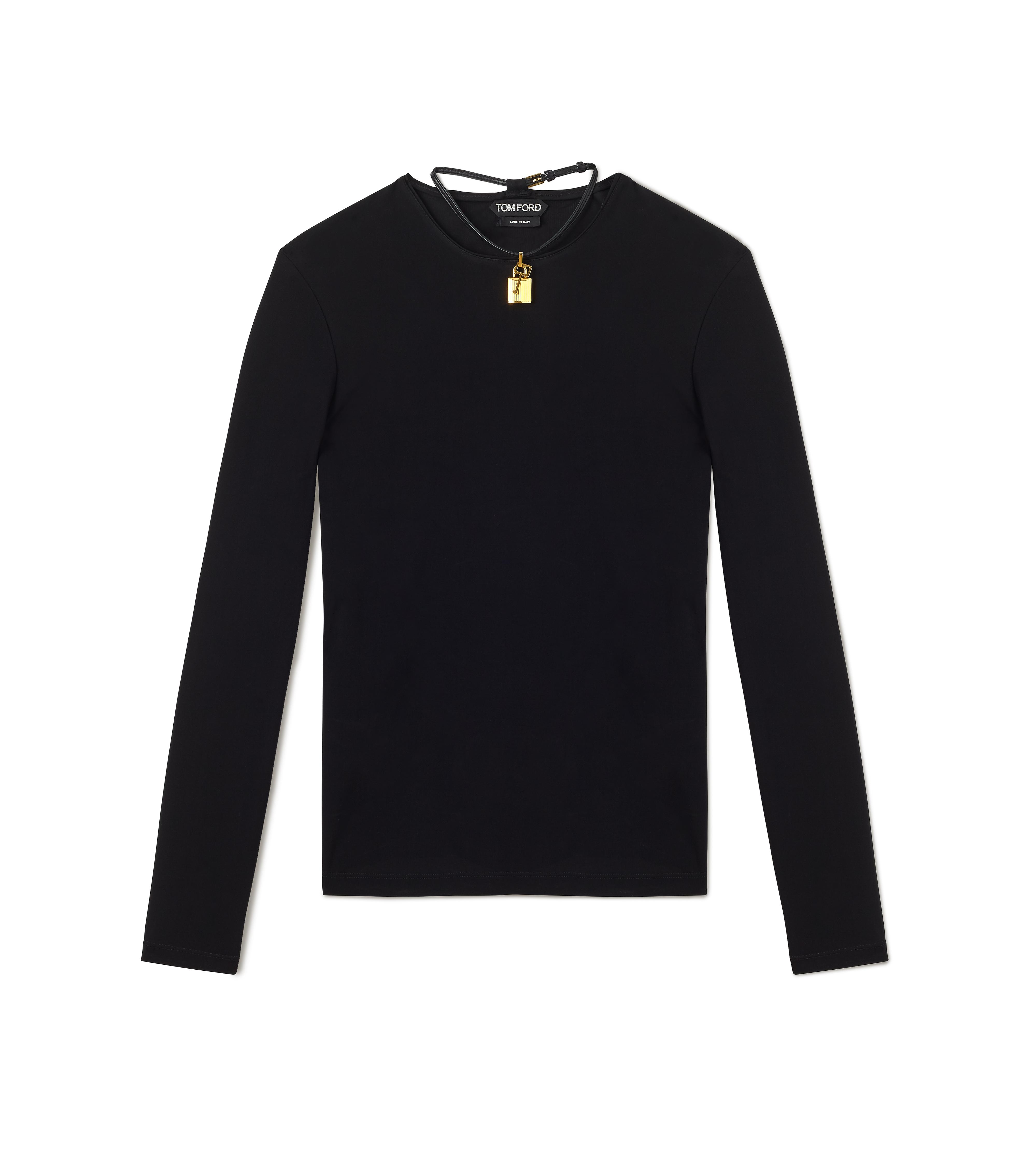 LONG SLEEVE CREW NECK TOP WITH PADLOCK ON LEATHER NECKLACE A thumbnail