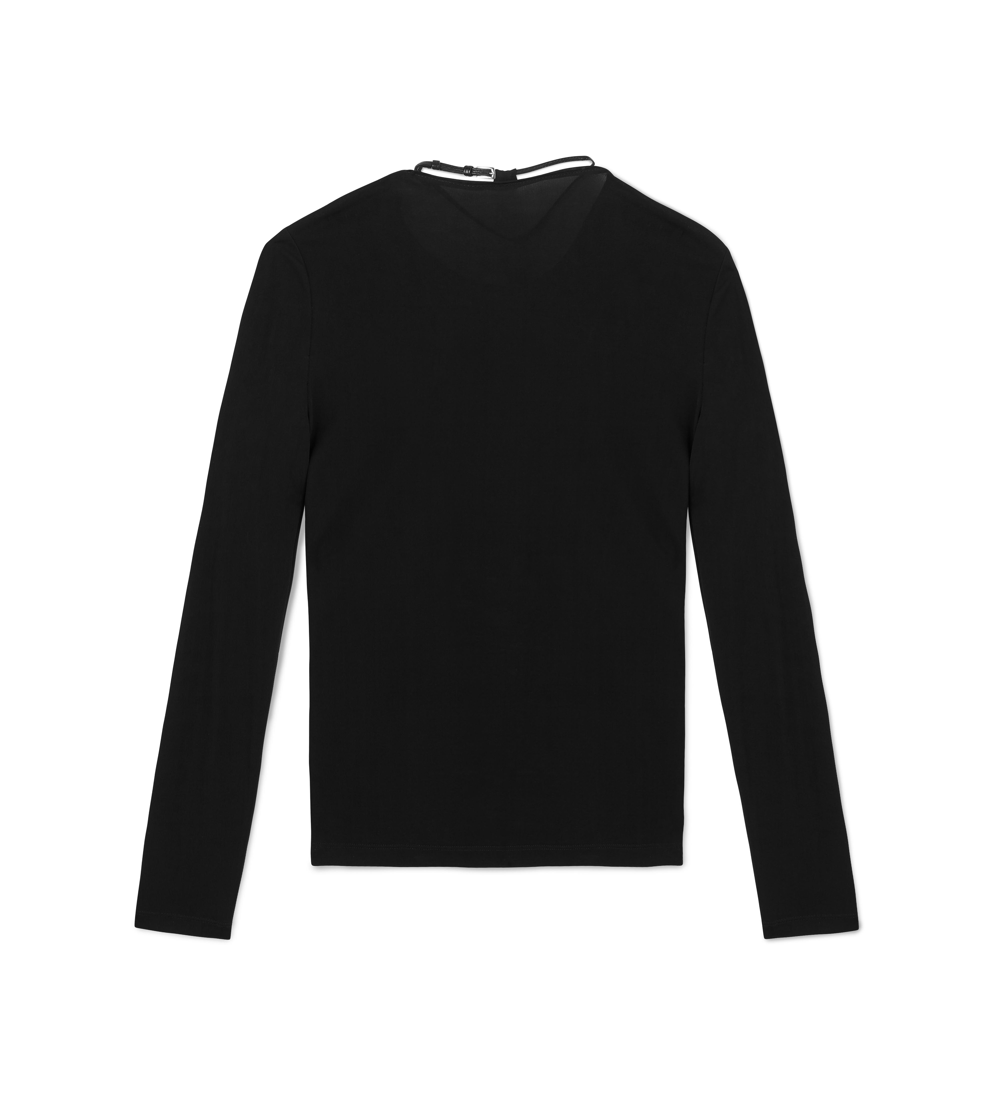 LONG SLEEVE CREW NECK TOP WITH PADLOCK ON LEATHER NECKLACE D thumbnail
