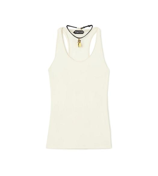 SCOOP NECK TANK TOP WITH PADLOCK ON LEATHER NECKLACE