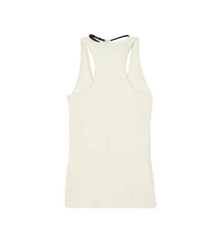 SCOOP NECK TANK TOP WITH PADLOCK ON LEATHER NECKLACE B fullsize