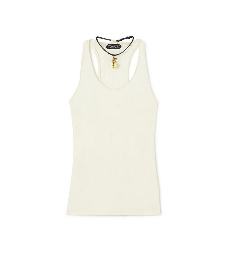 SCOOP NECK TANK TOP WITH PADLOCK ON LEATHER NECKLACE A fullsize