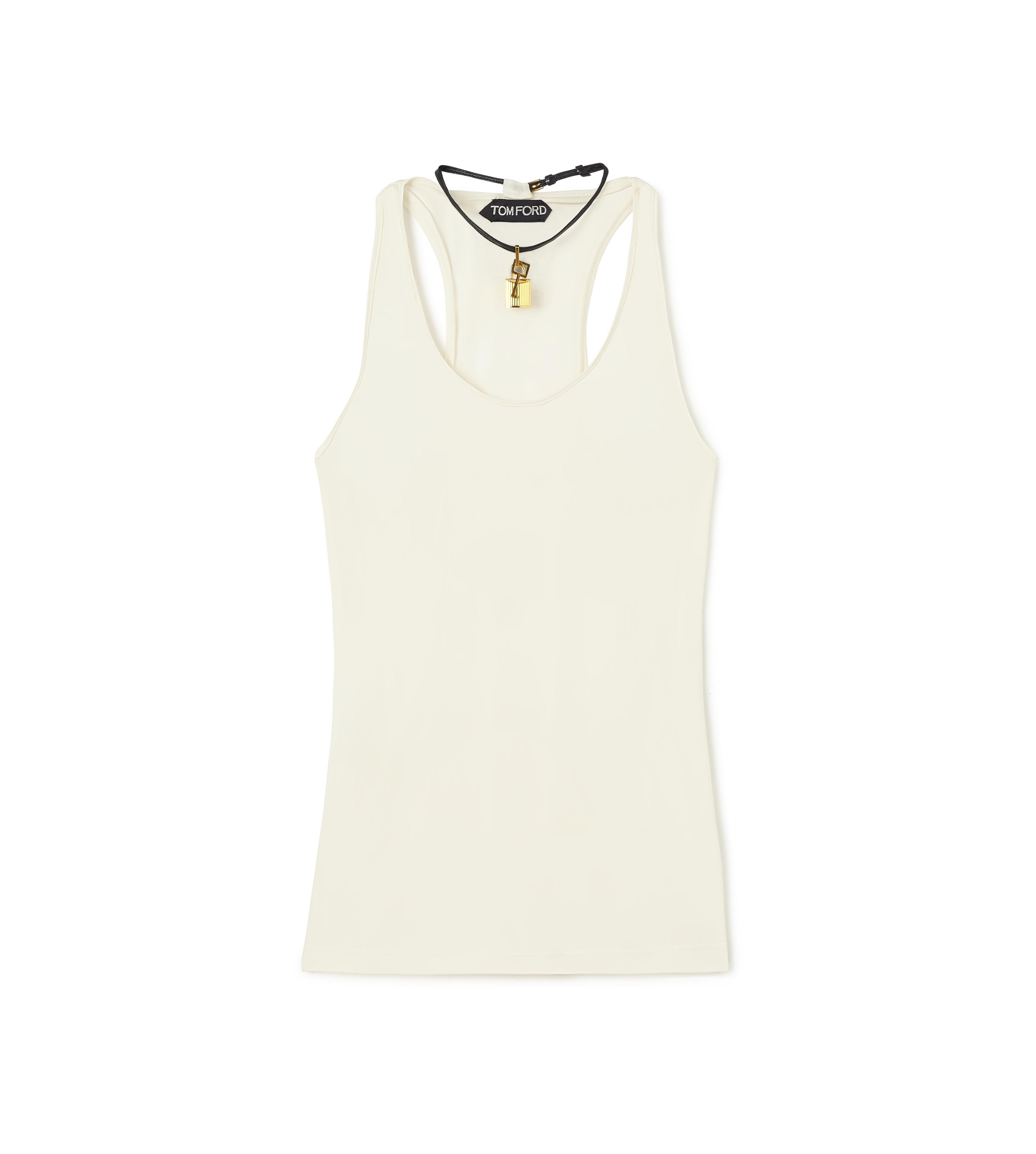 SCOOP NECK TANK TOP WITH PADLOCK ON LEATHER NECKLACE A thumbnail