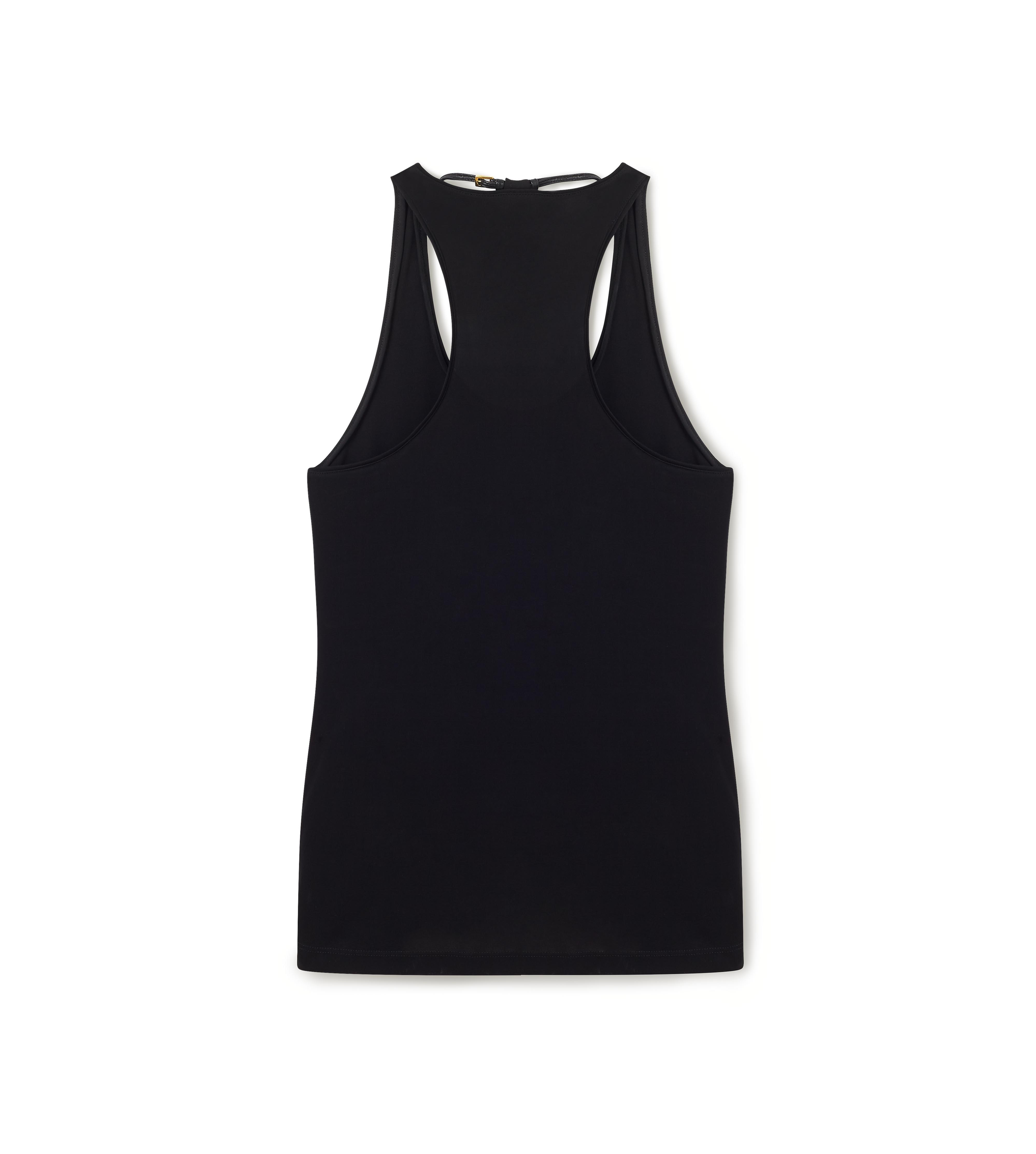 SCOOP NECK TANK TOP WITH PADLOCK ON LEATHER NECKLACE B thumbnail