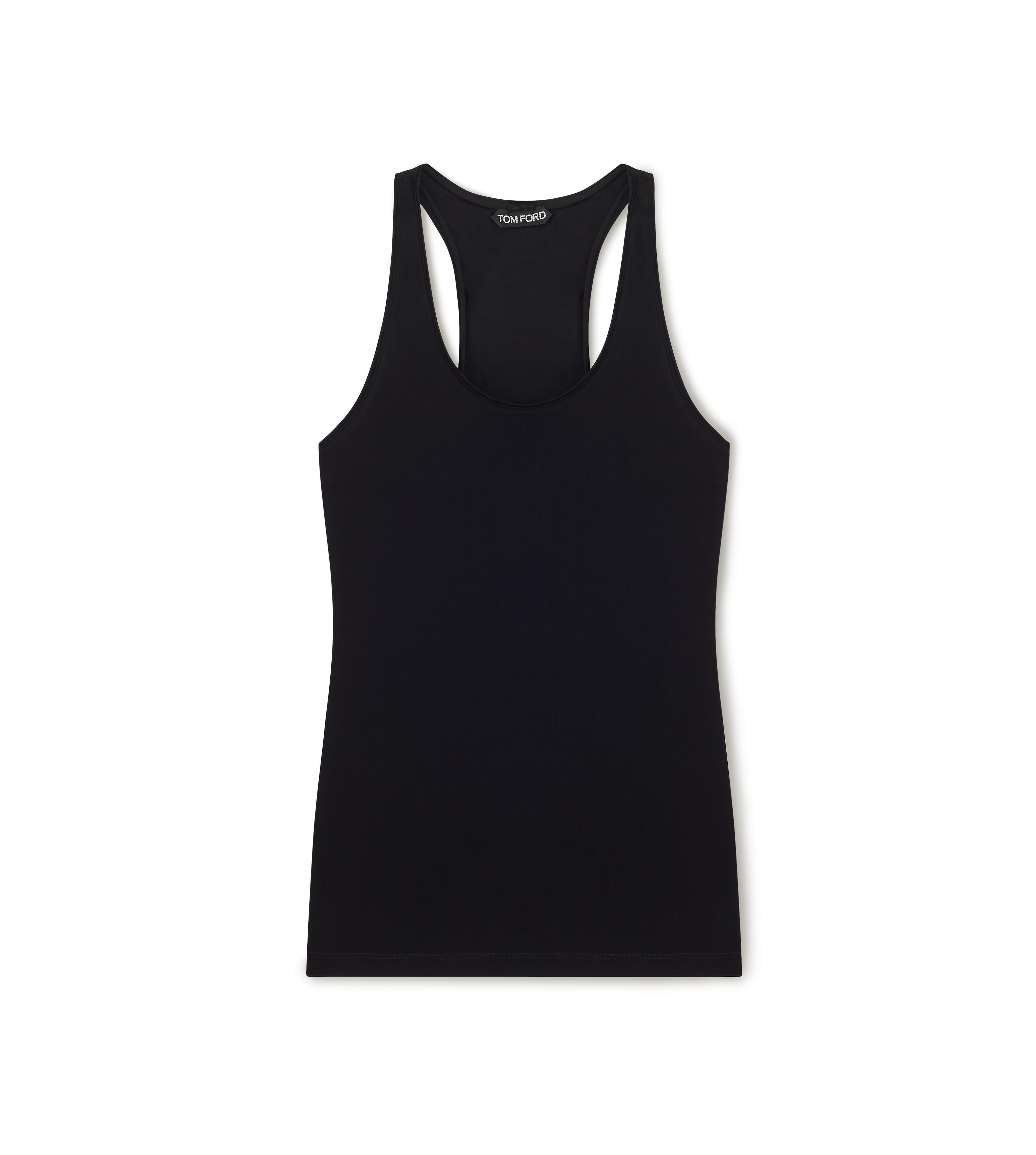 SCOOP NECK TANK TOP WITH PADLOCK ON LEATHER NECKLACE C thumbnail