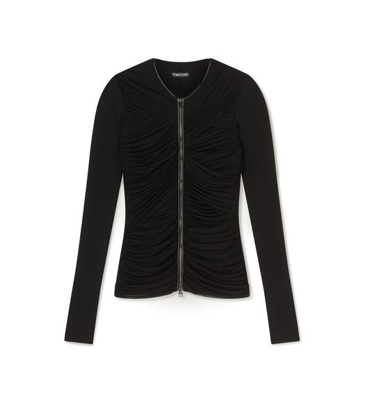 RUCHED TULLE ZIP-FRONT CARDIGAN WITH LEATHER