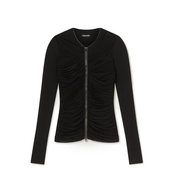 RUCHED TULLE ZIP-FRONT CARDIGAN WITH LEATHER A fullsize