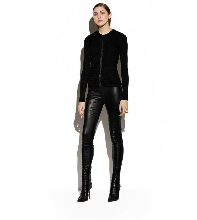 RUCHED TULLE ZIP-FRONT CARDIGAN WITH LEATHER B fullsize