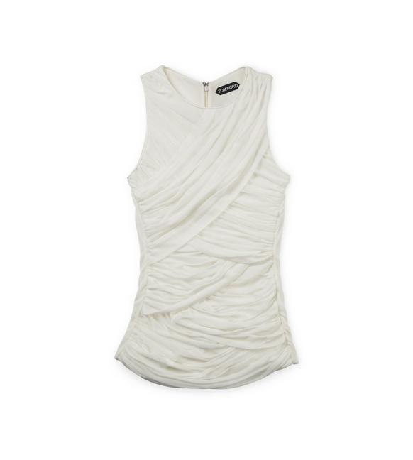 RUCHED TULLE TANK TOP WITH LEATHER TRIM A fullsize