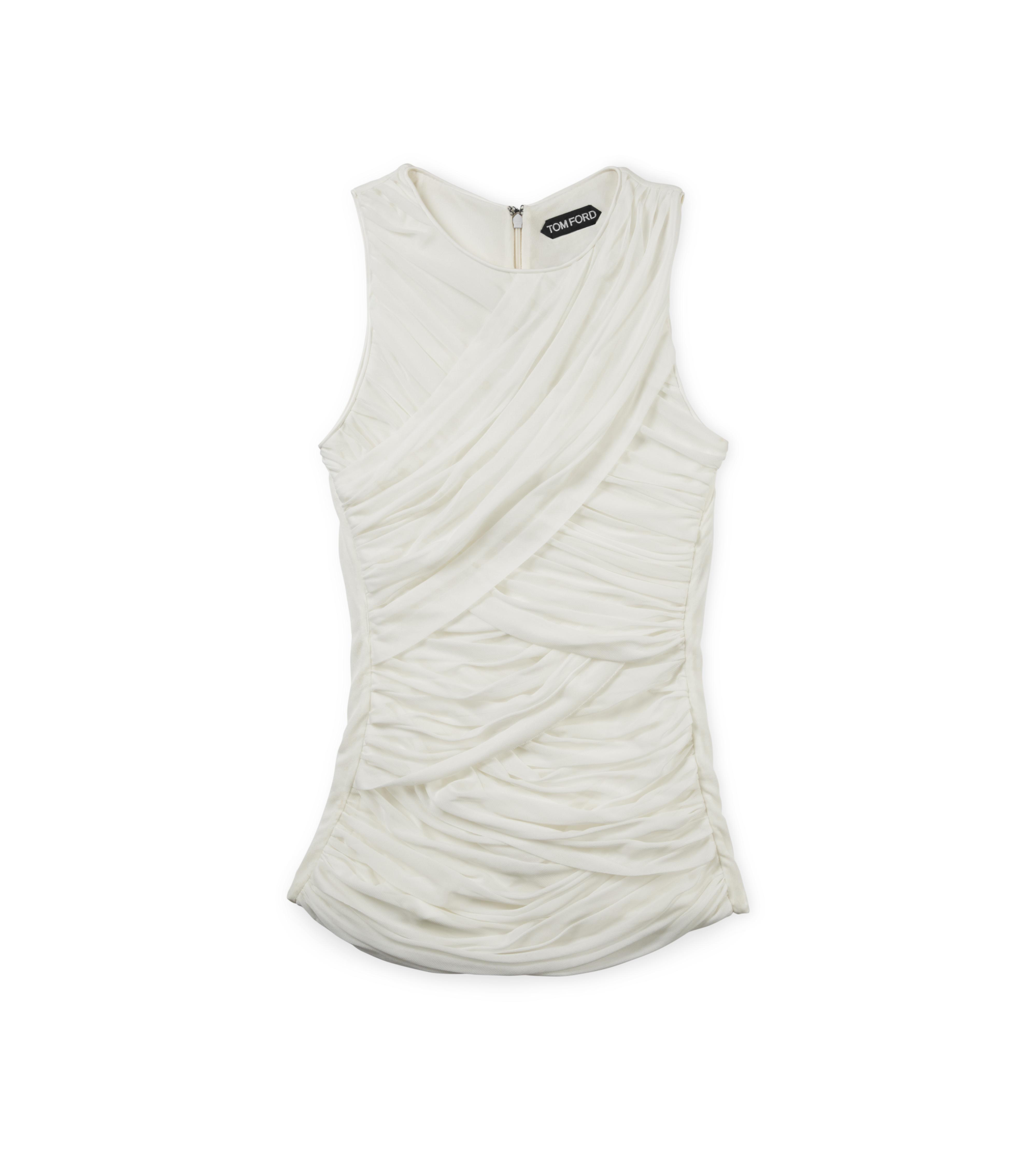 RUCHED TULLE TANK TOP WITH LEATHER TRIM A thumbnail