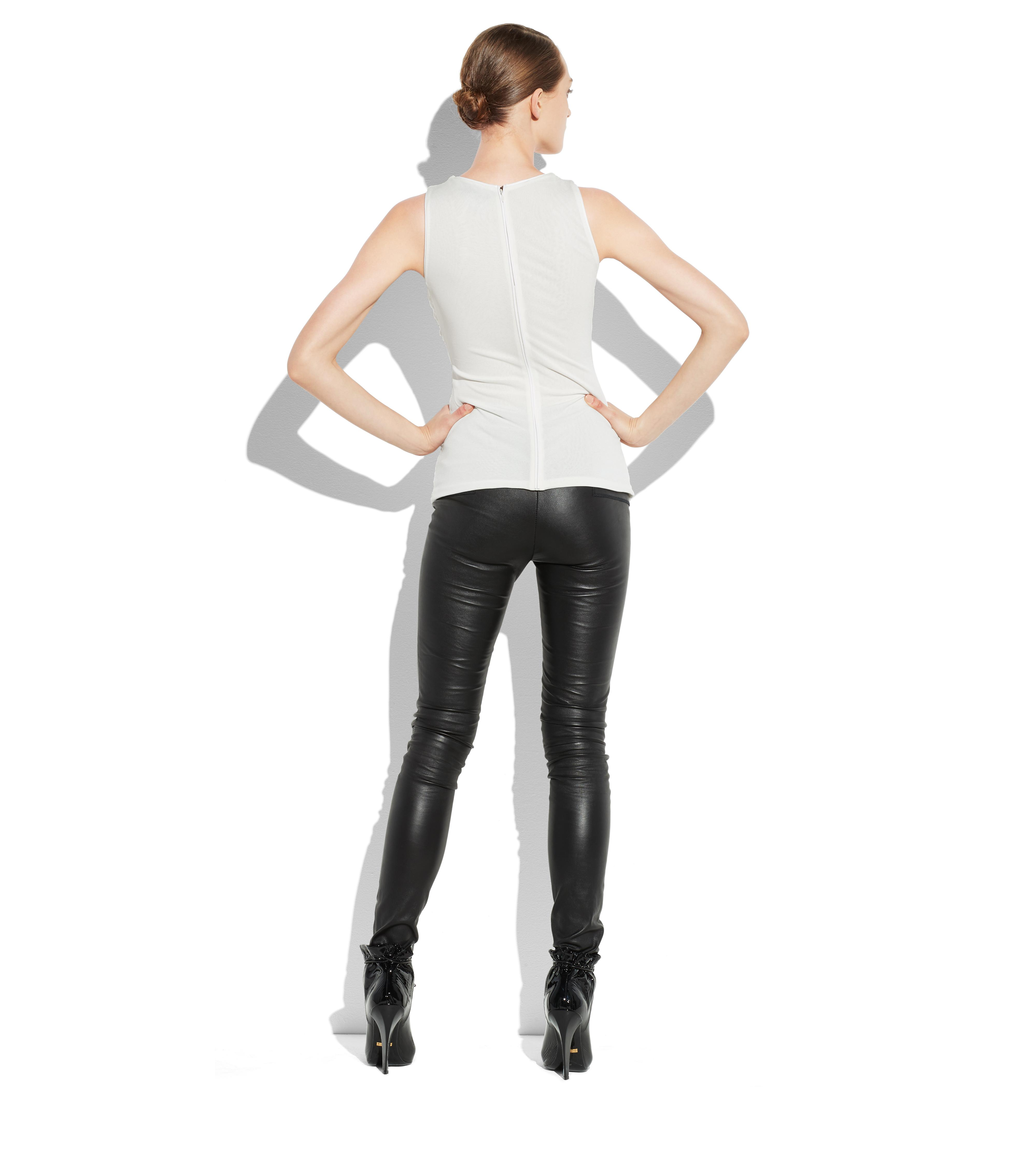 RUCHED TULLE TANK TOP WITH LEATHER TRIM C thumbnail