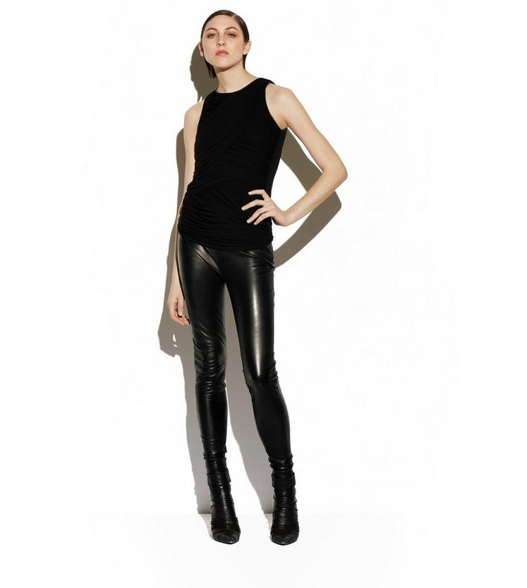 RUCHED TULLE TANK TOP WITH LEATHER TRIM B fullsize