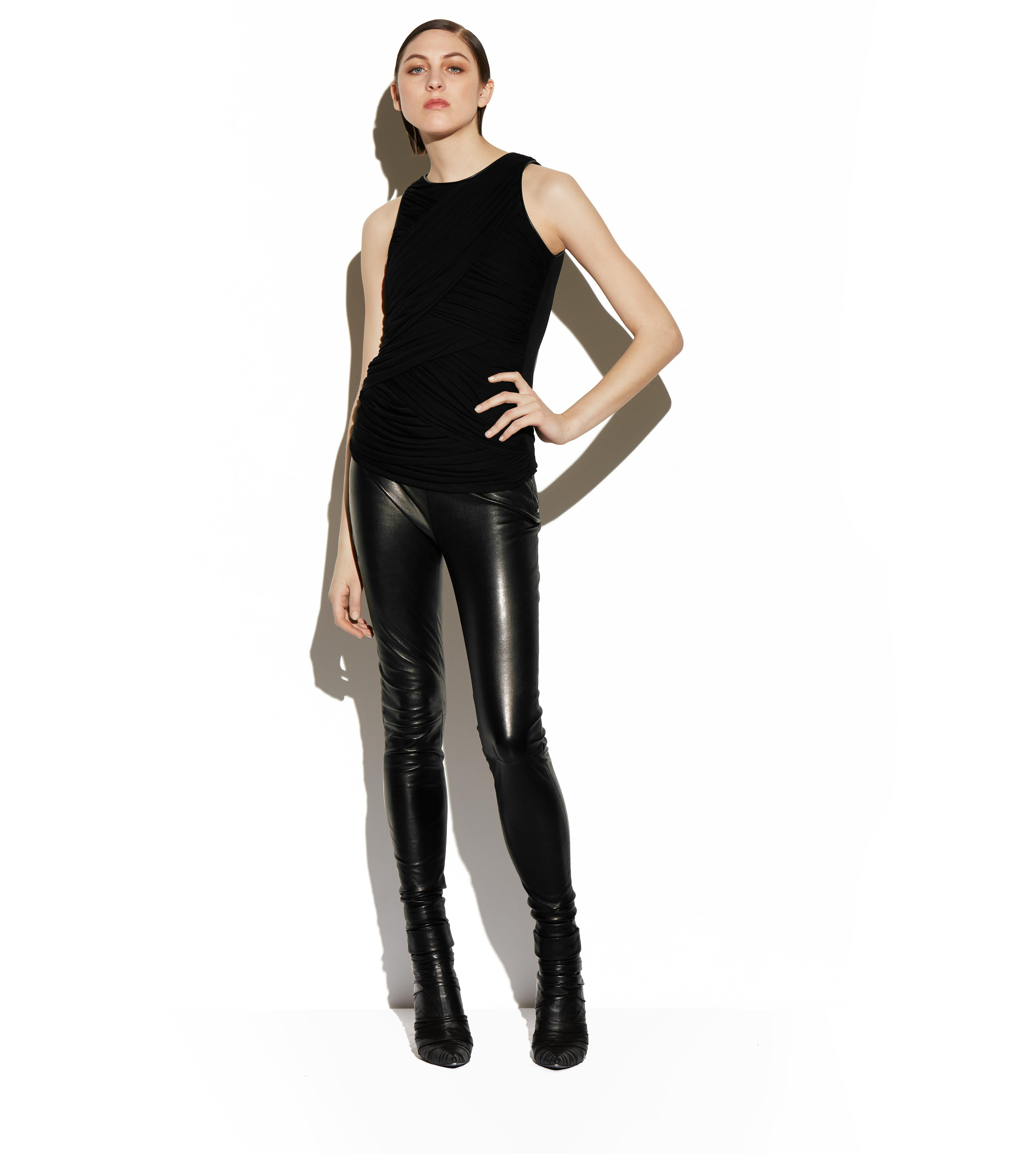 RUCHED TULLE TANK TOP WITH LEATHER TRIM B thumbnail