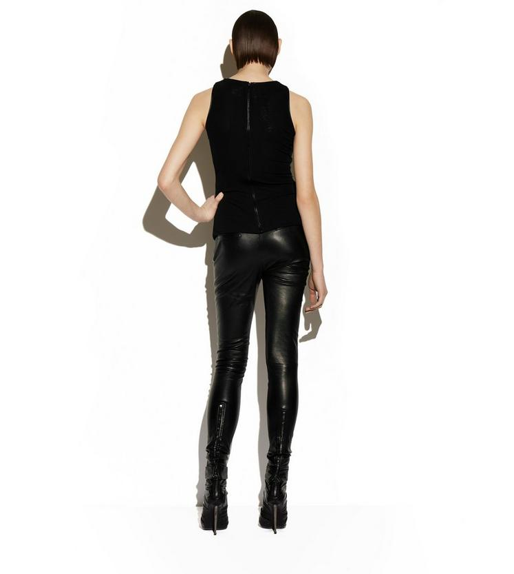 RUCHED TULLE TANK TOP WITH LEATHER TRIM C fullsize