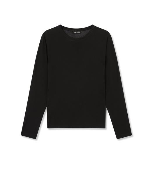 COTTON LONG SLEEVE CREW NECK TOP
