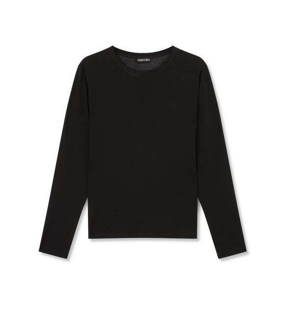 COTTON LONG SLEEVE CREW NECK TOP A fullsize