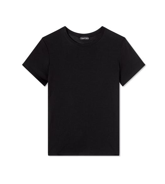 SILK WOOL JERSEY CREWNECK T-SHIRT