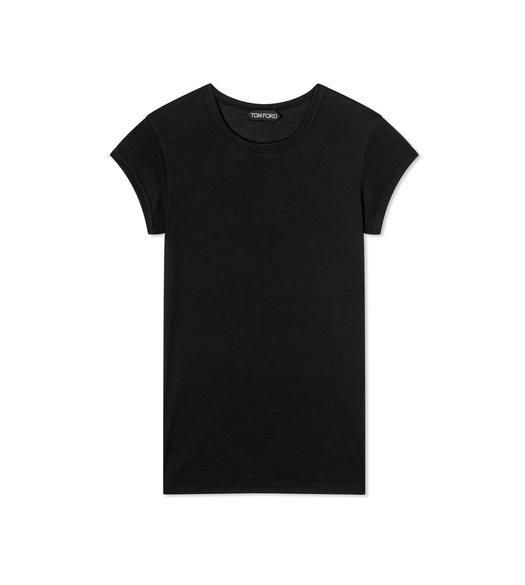 SILK WOOL JERSEY CAP SLEEVE T-SHIRT